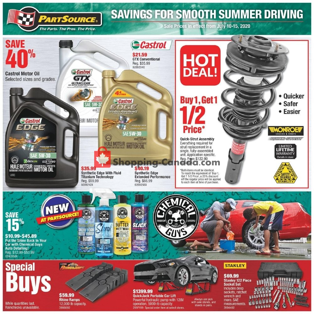 Flyer PartSource Canada - from Friday July 10, 2020 to Wednesday July 15, 2020