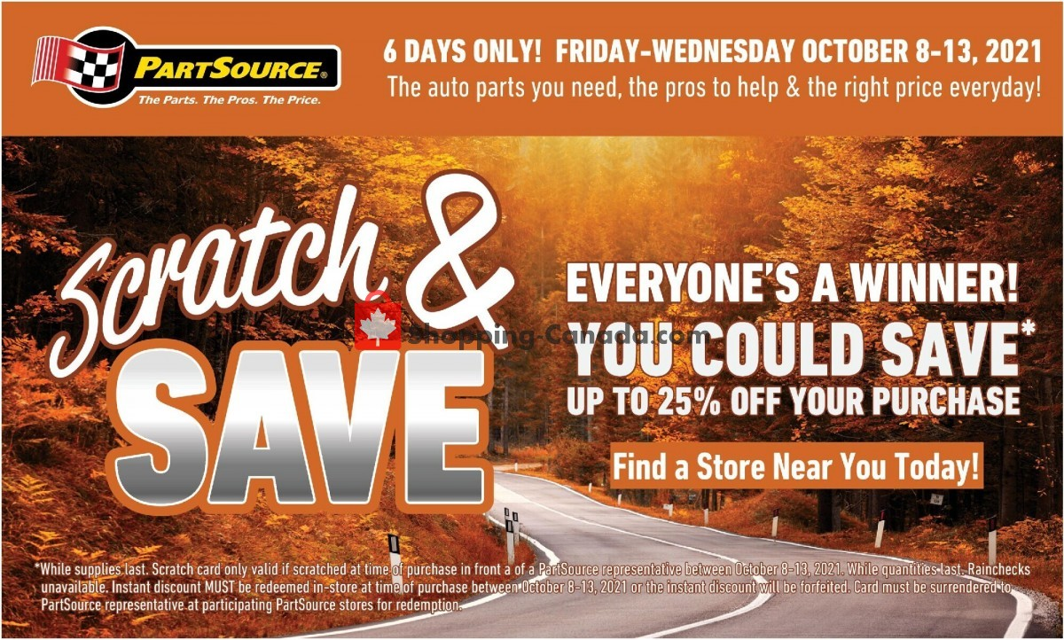 Flyer PartSource Canada - from Friday October 8, 2021 to Wednesday October 13, 2021