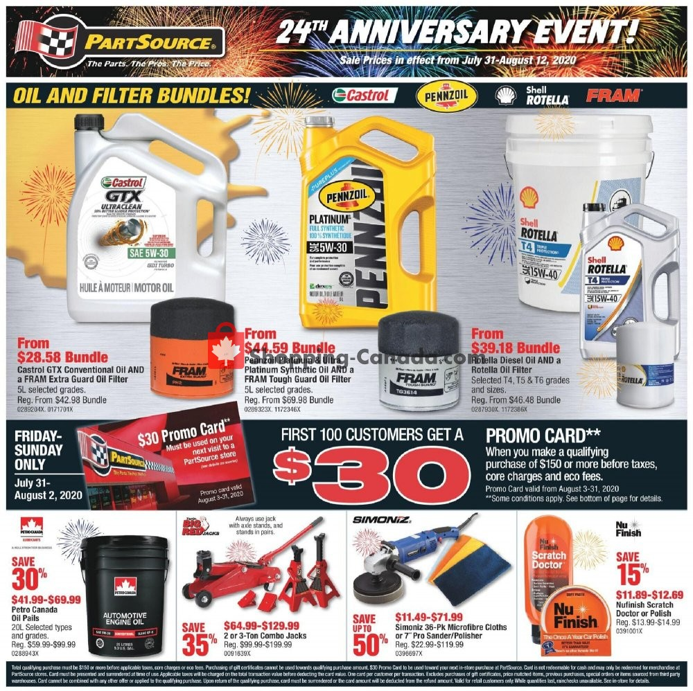 Flyer PartSource Canada - from Friday July 31, 2020 to Wednesday August 12, 2020