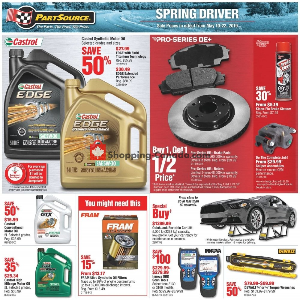 Flyer PartSource Canada - from Friday May 10, 2019 to Wednesday May 22, 2019