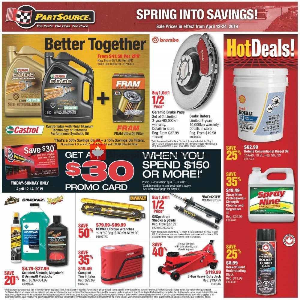 Flyer PartSource Canada - from Friday April 12, 2019 to Wednesday April 24, 2019