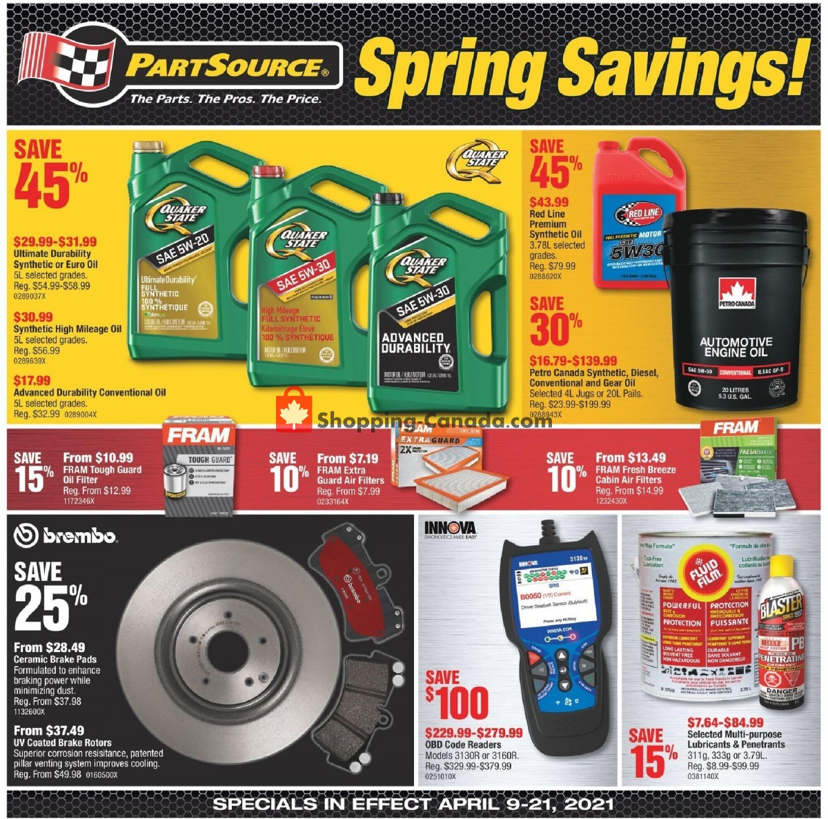 Flyer PartSource Canada - from Friday April 9, 2021 to Wednesday April 21, 2021