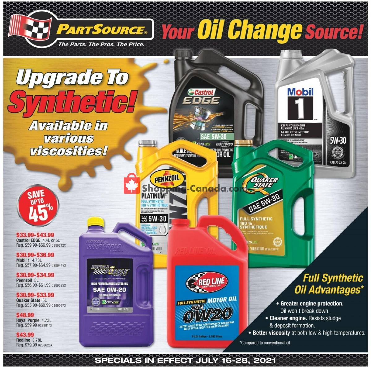 Flyer PartSource Canada - from Friday July 16, 2021 to Wednesday July 28, 2021