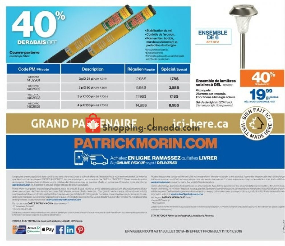 Flyer Patrick Morin Canada - from Thursday July 11, 2019 to Wednesday July 17, 2019