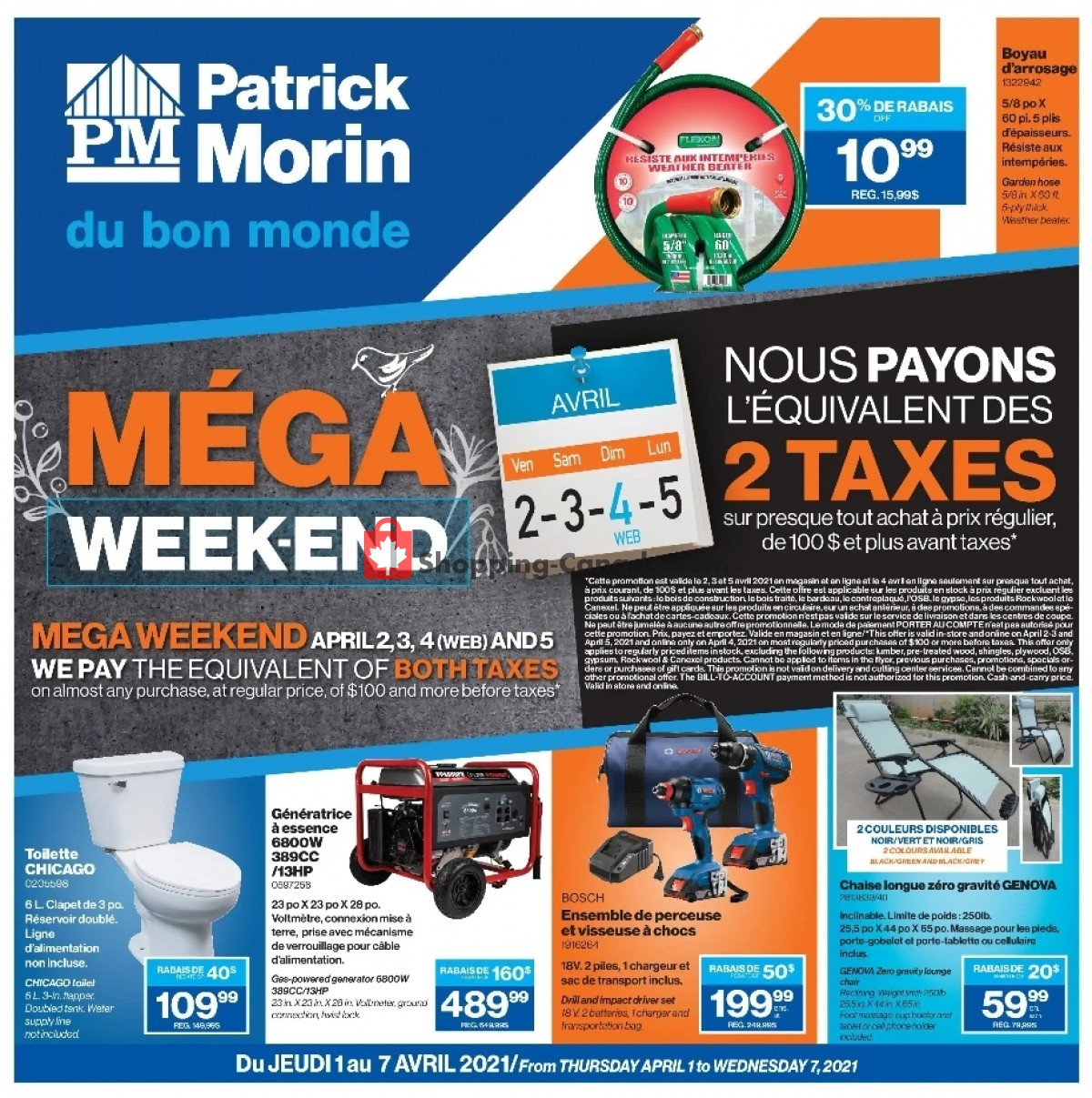 Flyer Patrick Morin Canada - from Thursday April 1, 2021 to Wednesday April 7, 2021