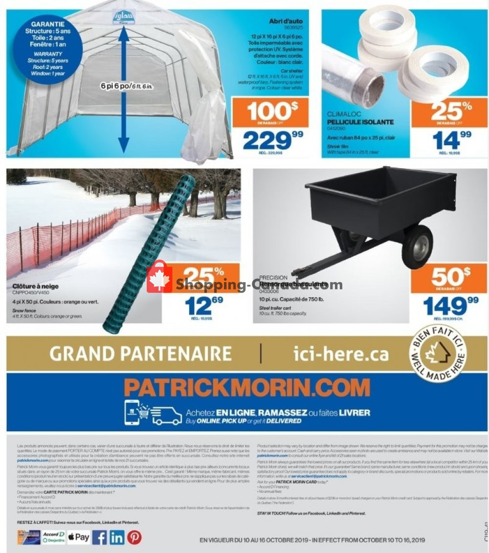 Flyer Patrick Morin Canada - from Thursday October 10, 2019 to Wednesday October 16, 2019