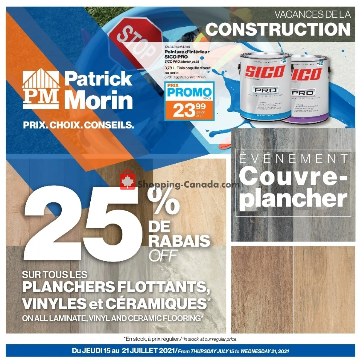 Flyer Patrick Morin Canada - from Thursday July 15, 2021 to Wednesday July 21, 2021