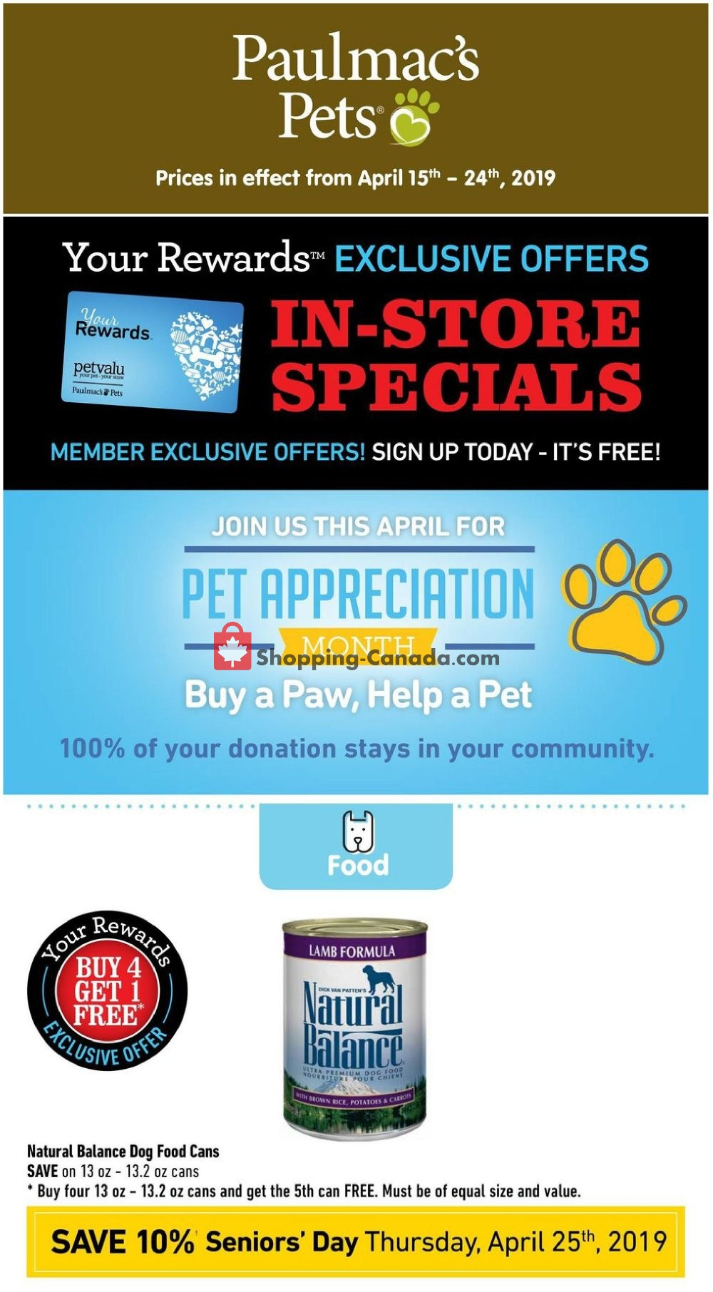 Flyer Paulmac's Pets Canada - from Monday April 15, 2019 to Wednesday April 24, 2019