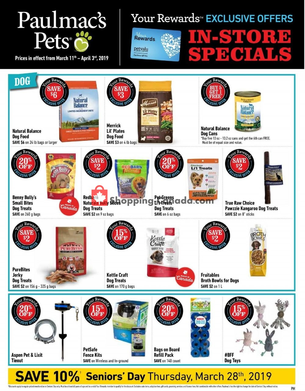 Flyer Paulmac's Pets Canada - from Monday March 11, 2019 to Wednesday April 3, 2019