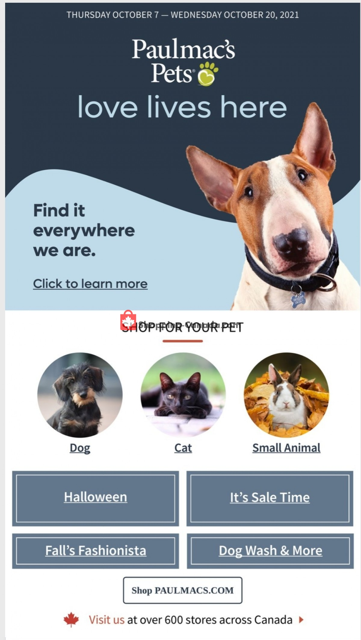 Flyer Paulmac's Pets Canada - from Thursday October 7, 2021 to Wednesday October 20, 2021