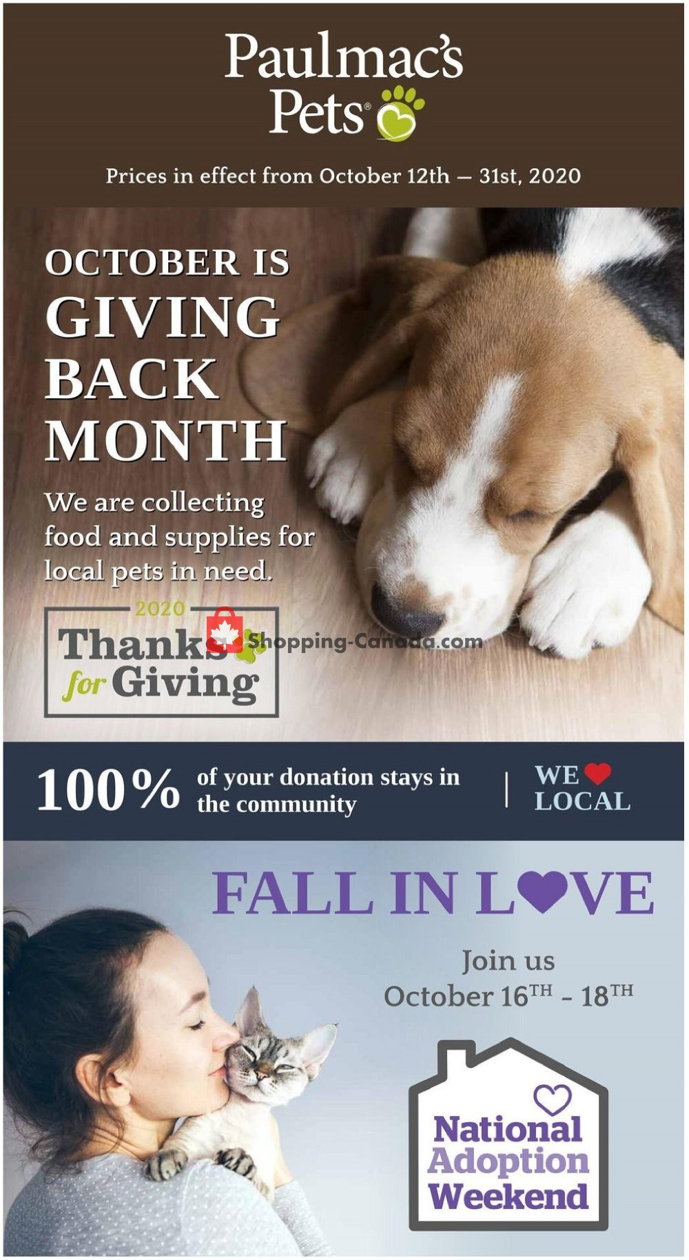 Flyer Paulmac's Pets Canada - from Monday October 12, 2020 to Saturday October 31, 2020
