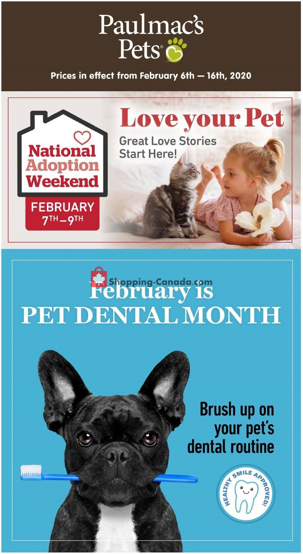 Flyer Paulmac's Pets Canada - from Thursday February 6, 2020 to Sunday February 16, 2020