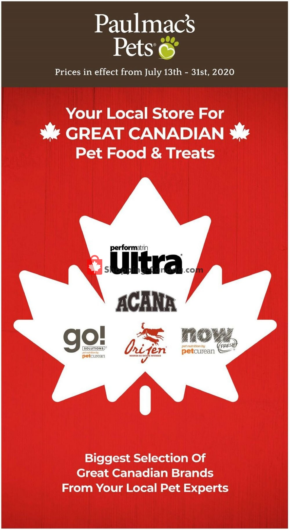 Flyer Paulmac's Pets Canada - from Monday July 13, 2020 to Friday July 31, 2020