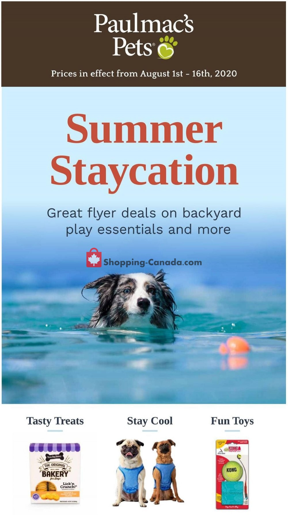 Flyer Paulmac's Pets Canada - from Saturday August 1, 2020 to Sunday August 16, 2020