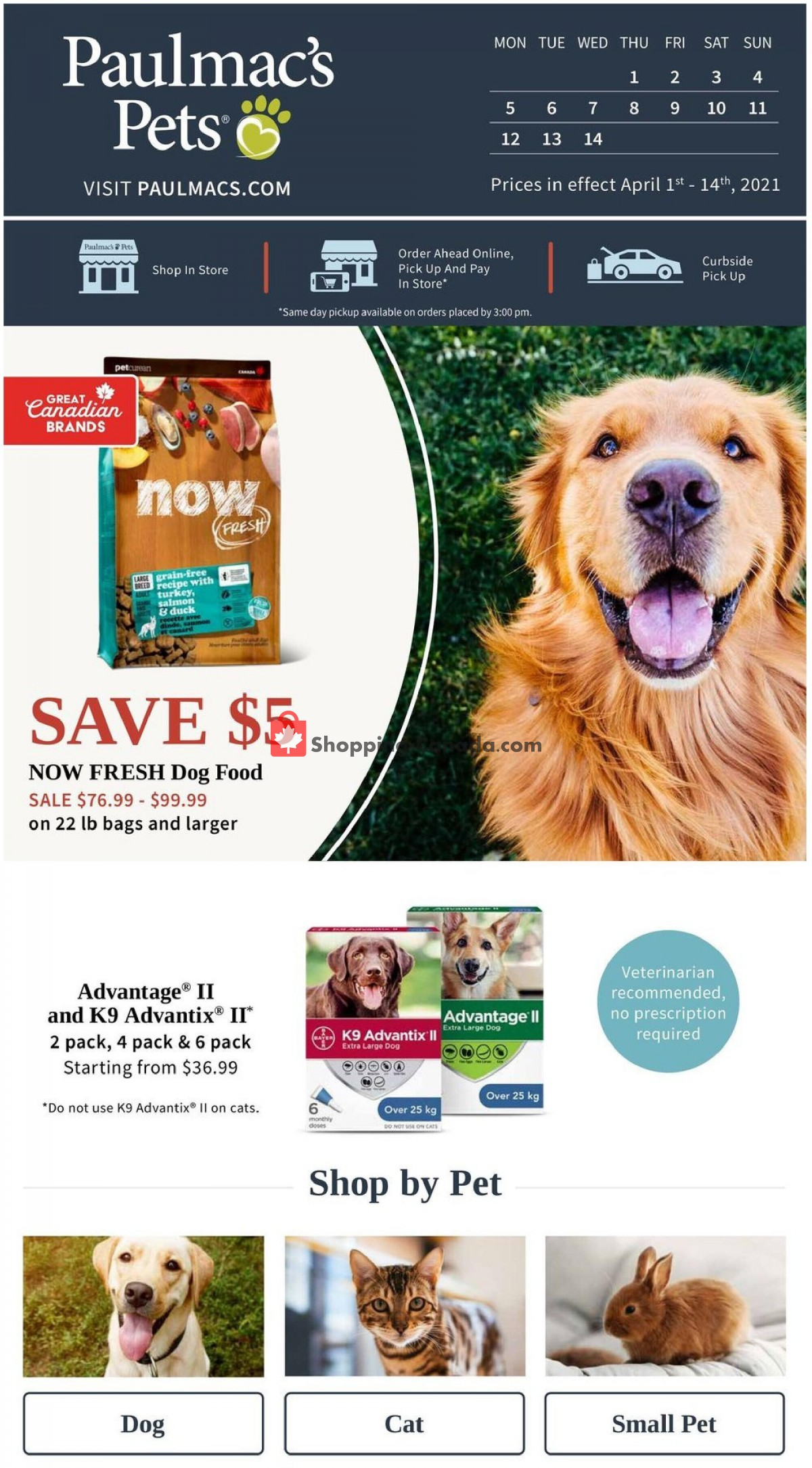 Flyer Paulmac's Pets Canada - from Thursday April 1, 2021 to Wednesday April 14, 2021