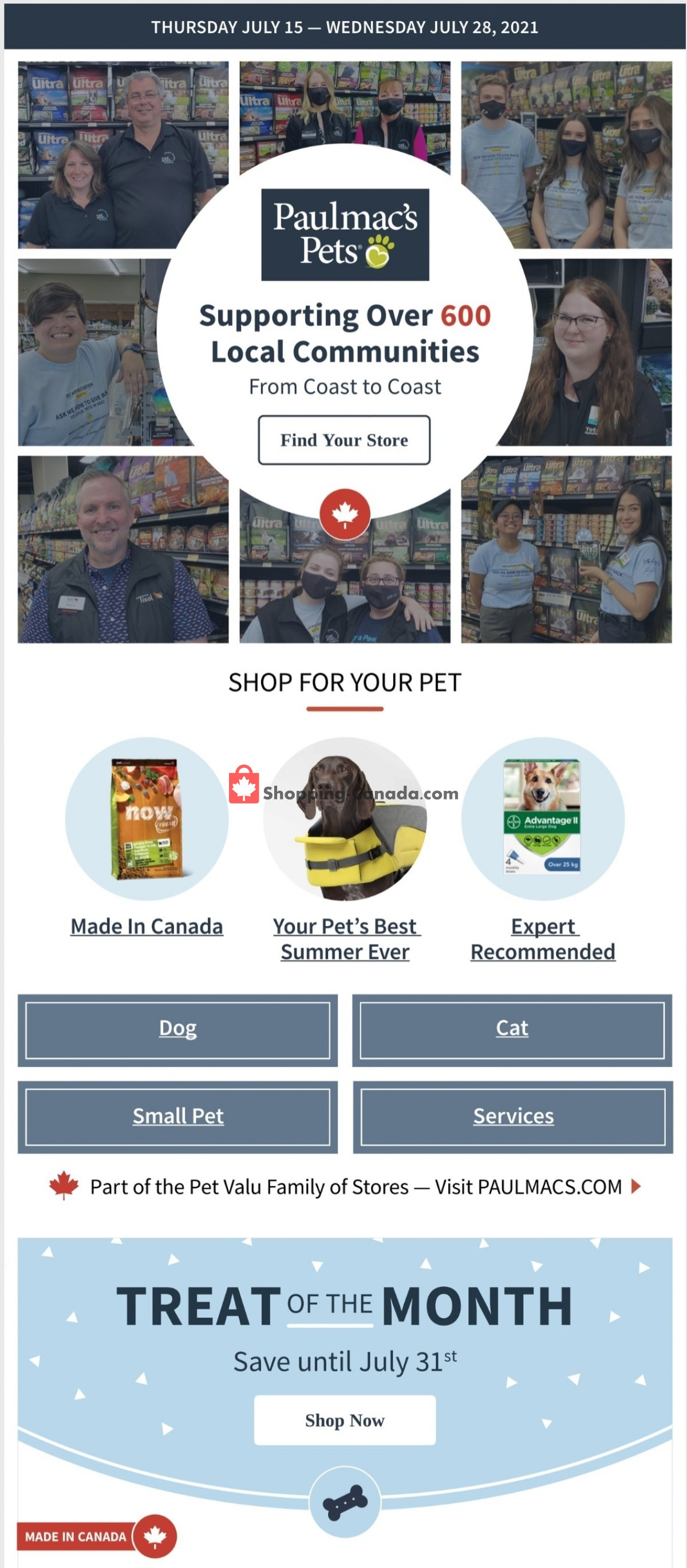 Flyer Paulmac's Pets Canada - from Thursday July 15, 2021 to Wednesday July 28, 2021