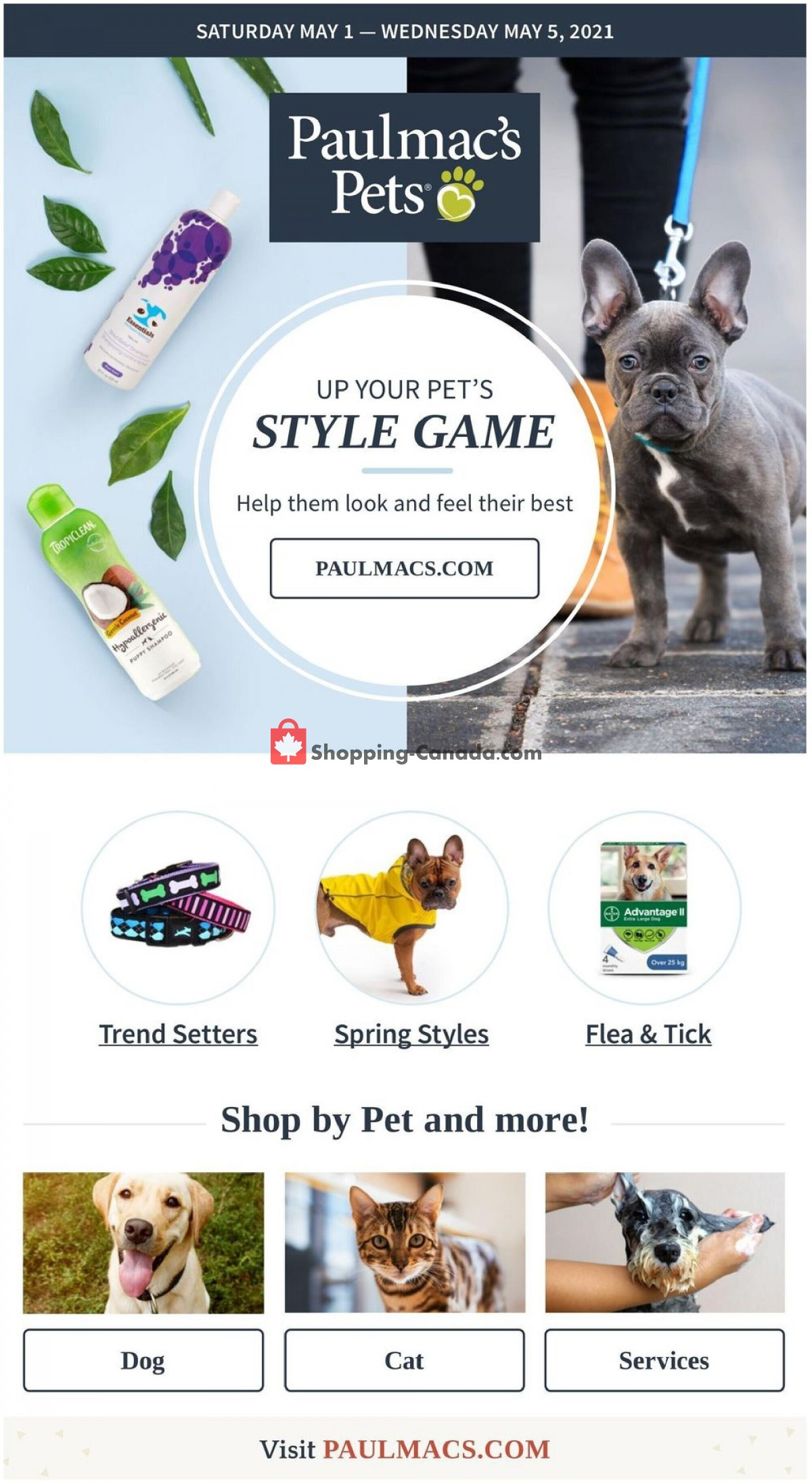 Flyer Paulmac's Pets Canada - from Saturday May 1, 2021 to Wednesday May 5, 2021