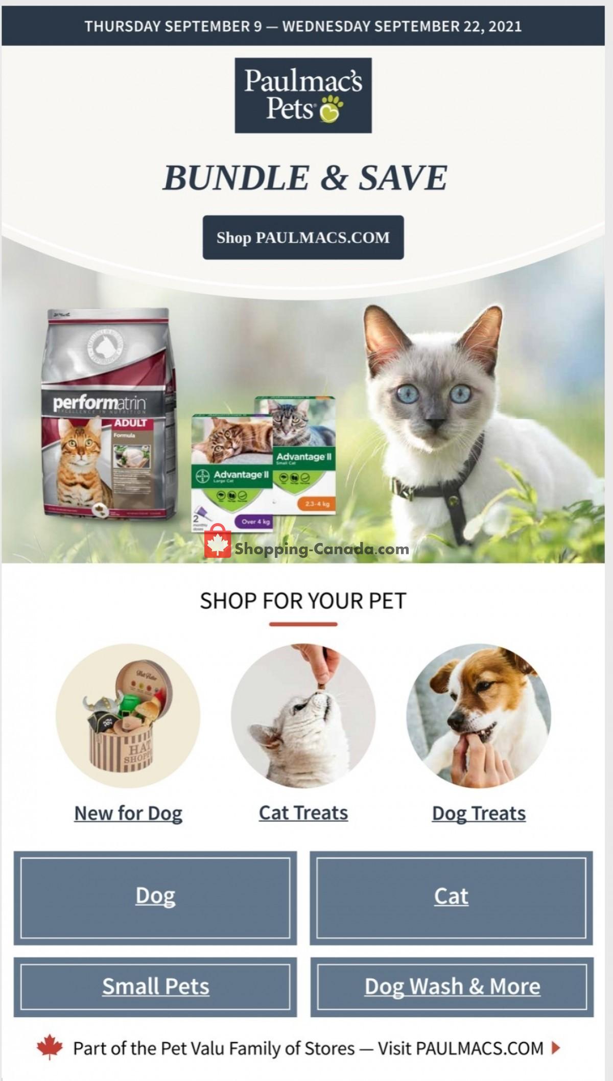 Flyer Paulmac's Pets Canada - from Thursday September 9, 2021 to Wednesday September 22, 2021