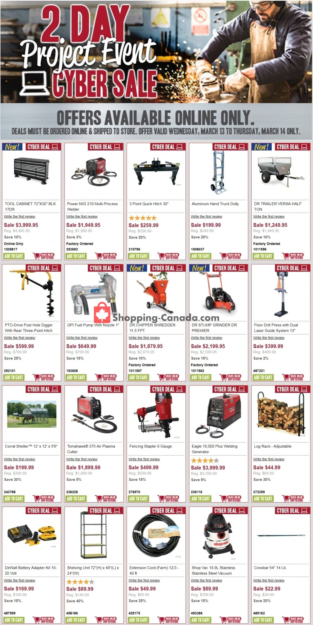 Flyer Peavey Mart Canada - from Wednesday March 13, 2019 to Thursday March 14, 2019