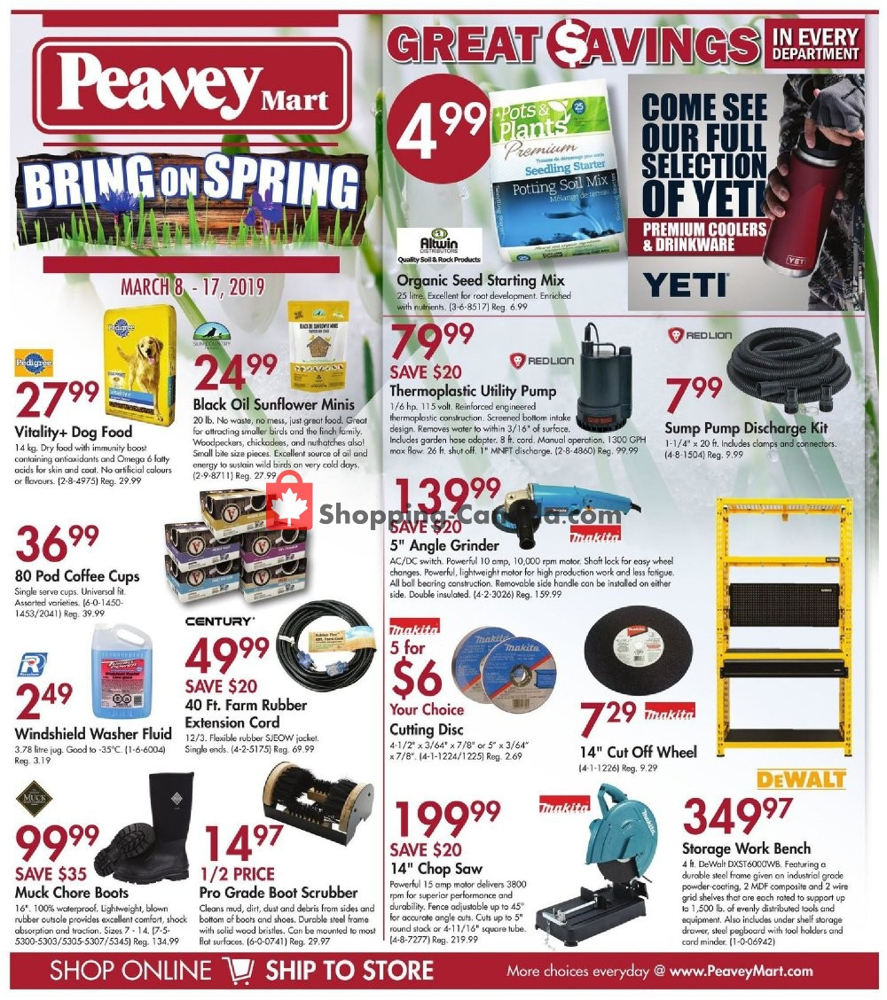 Flyer Peavey Mart Canada - from Friday March 8, 2019 to Sunday March 17, 2019