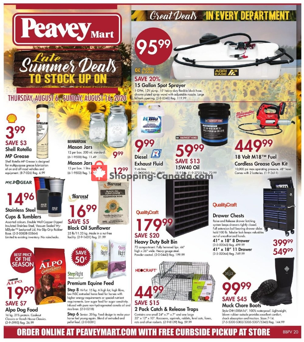 Flyer Peavey Mart Canada - from Thursday August 6, 2020 to Sunday August 16, 2020