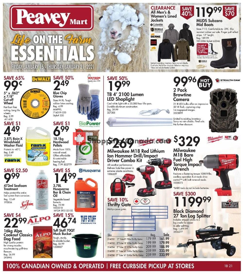 Flyer Peavey Mart Canada - from Friday January 15, 2021 to Thursday January 21, 2021