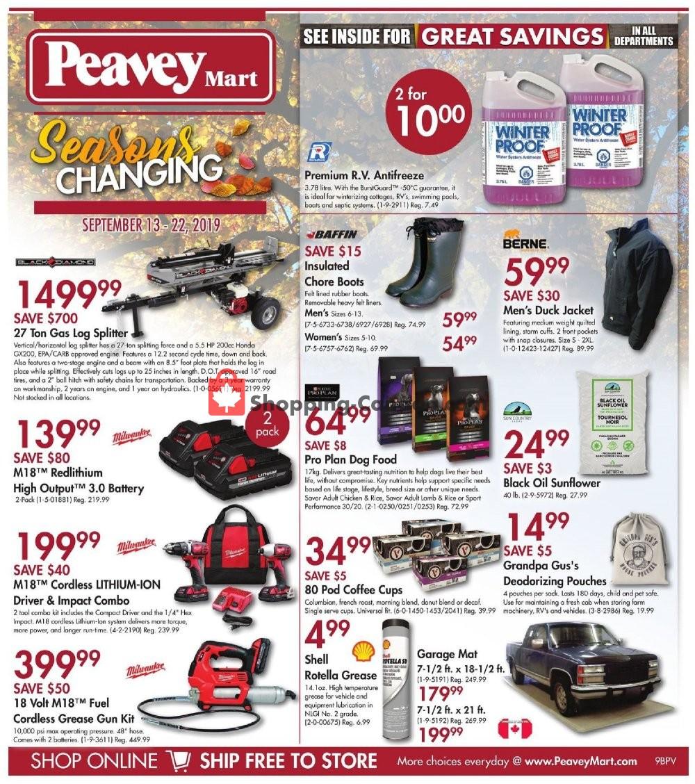Flyer Peavey Mart Canada - from Friday September 13, 2019 to Sunday September 22, 2019
