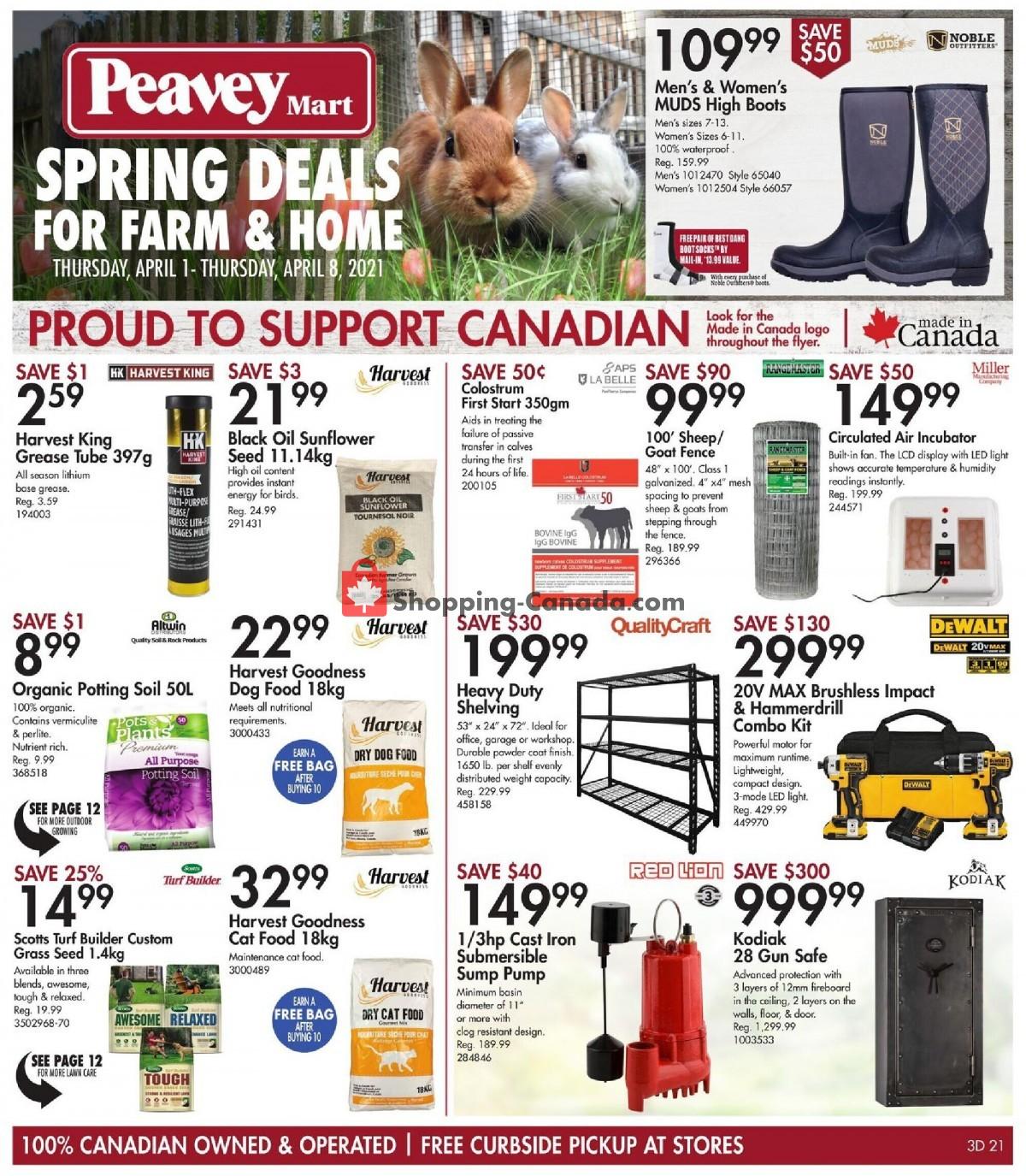 Flyer Peavey Mart Canada - from Thursday April 1, 2021 to Thursday April 8, 2021