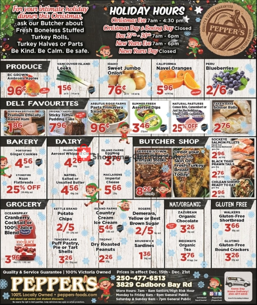 Flyer Pepper's Foods Canada - from Tuesday December 15, 2020 to Monday December 21, 2020
