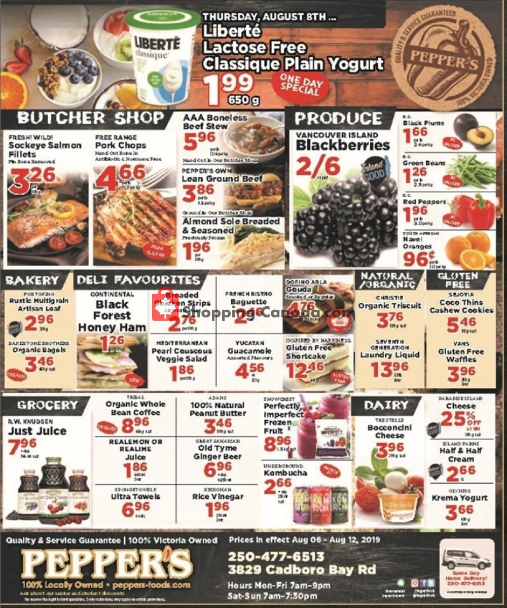 Flyer Pepper's Foods Canada - from Tuesday August 6, 2019 to Monday August 12, 2019