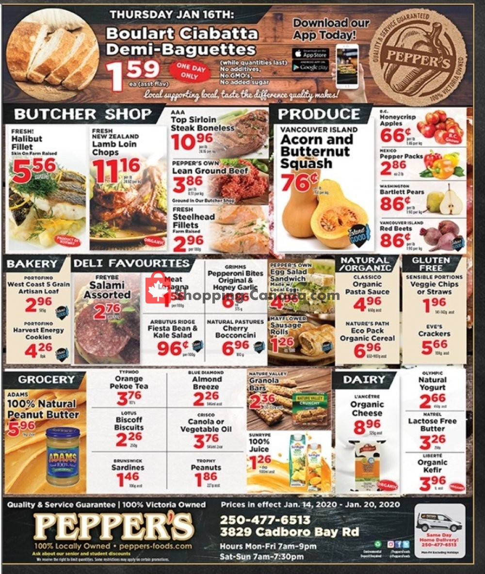 Flyer Pepper's Foods Canada - from Tuesday January 14, 2020 to Monday January 20, 2020