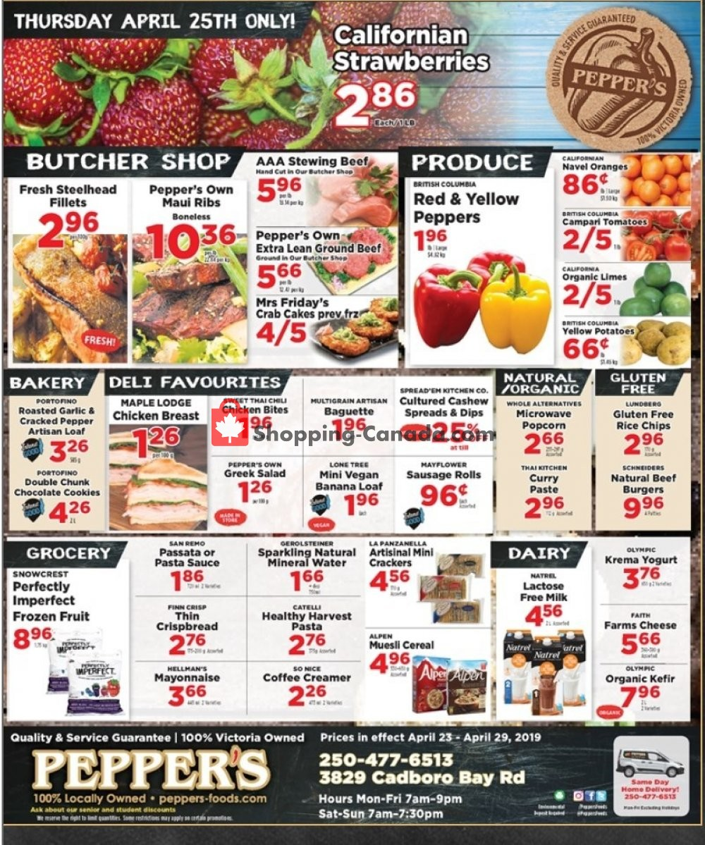 Flyer Pepper's Foods Canada - from Tuesday April 23, 2019 to Monday April 29, 2019