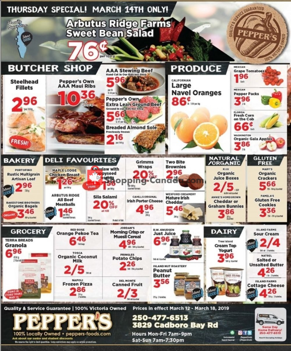 Flyer Pepper's Foods Canada - from Tuesday March 12, 2019 to Monday March 18, 2019