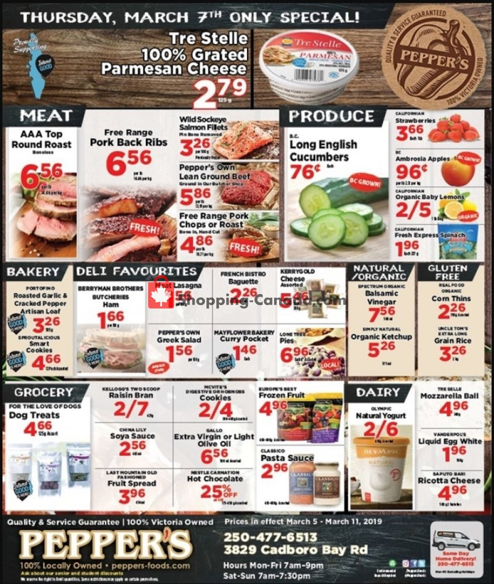Flyer Pepper's Foods Canada - from Tuesday March 5, 2019 to Monday March 11, 2019