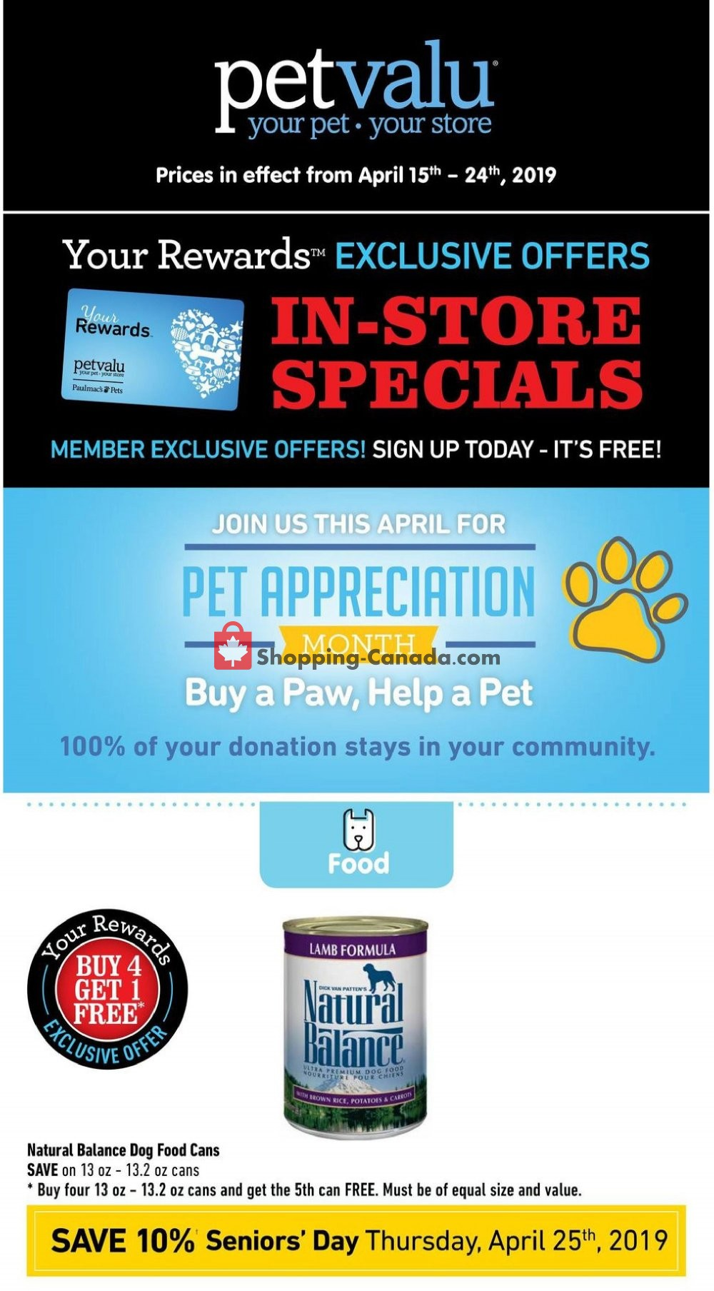Flyer Pet Valu Canada - from Monday April 15, 2019 to Wednesday April 24, 2019
