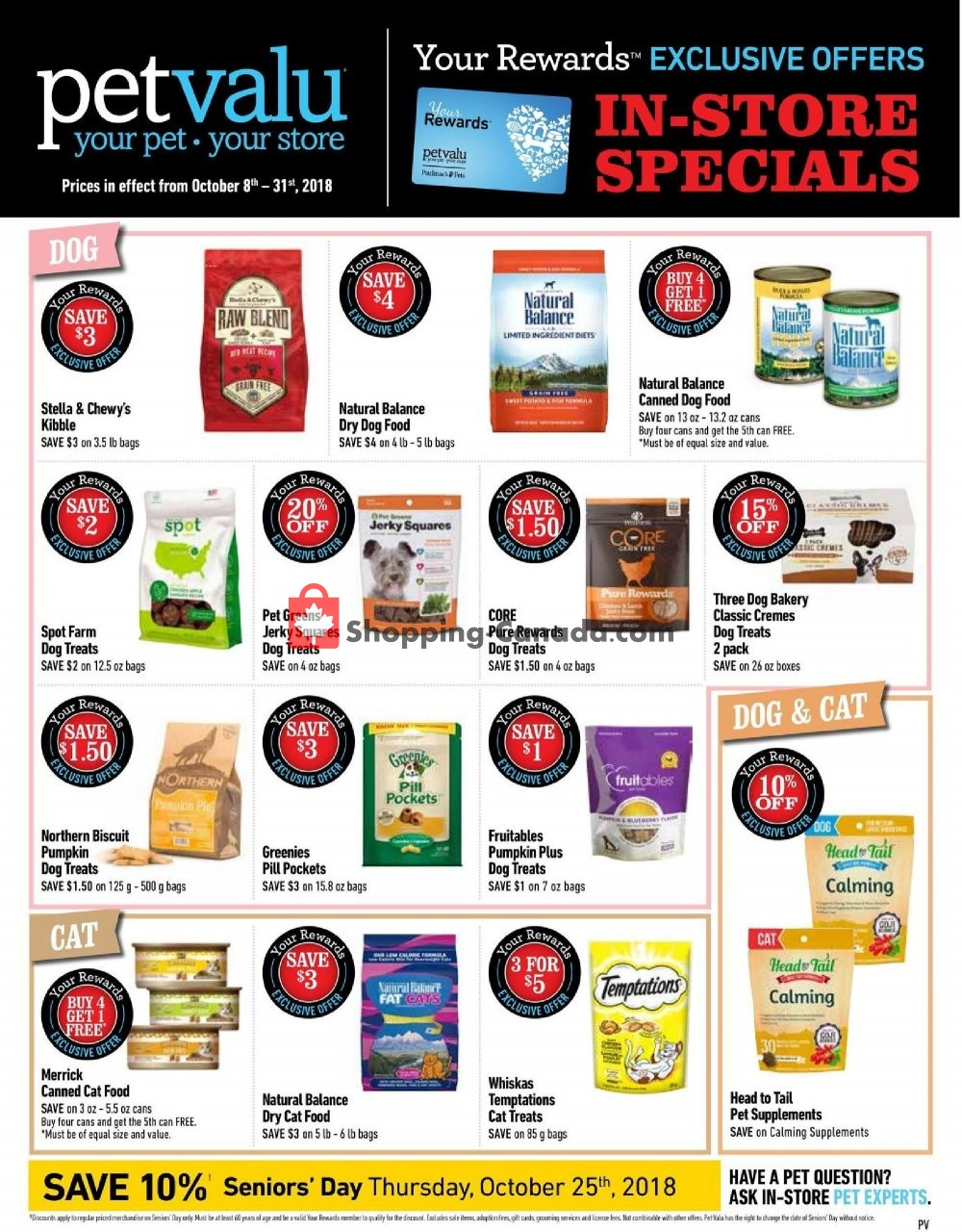 Flyer Pet Valu Canada - from Monday October 8, 2018 to Wednesday October 31, 2018