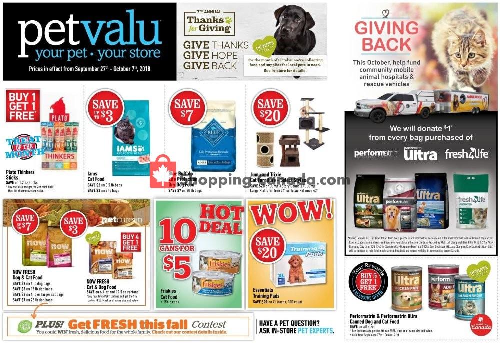 Flyer Pet Valu Canada - from Thursday September 27, 2018 to Sunday October 7, 2018