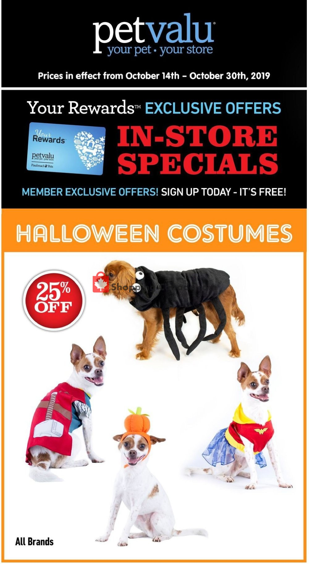 Flyer Pet Valu Canada - from Sunday October 13, 2019 to Wednesday October 30, 2019