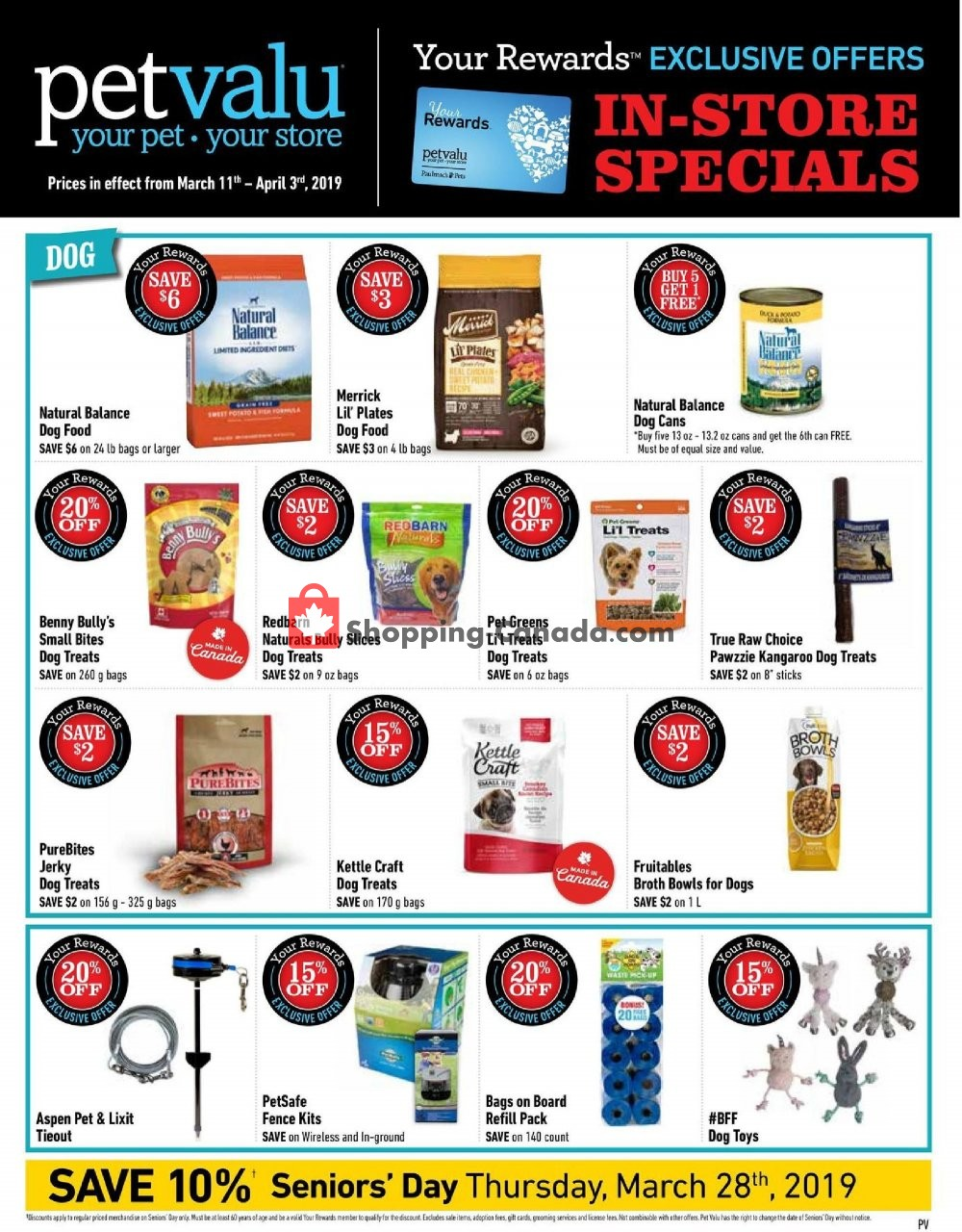 Flyer Pet Valu Canada - from Monday March 11, 2019 to Wednesday April 3, 2019