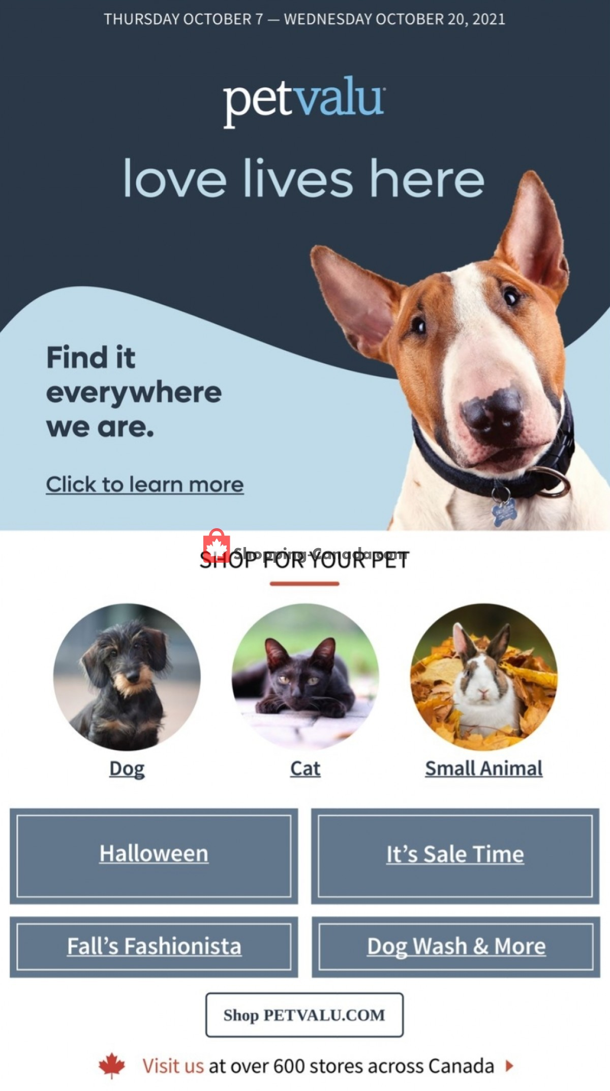 Flyer Pet Valu Canada - from Thursday October 7, 2021 to Wednesday October 20, 2021