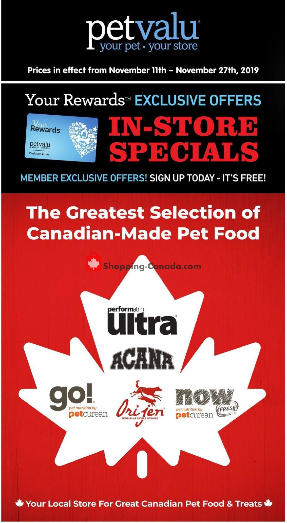 Flyer Pet Valu Canada - from Monday November 11, 2019 to Wednesday November 27, 2019