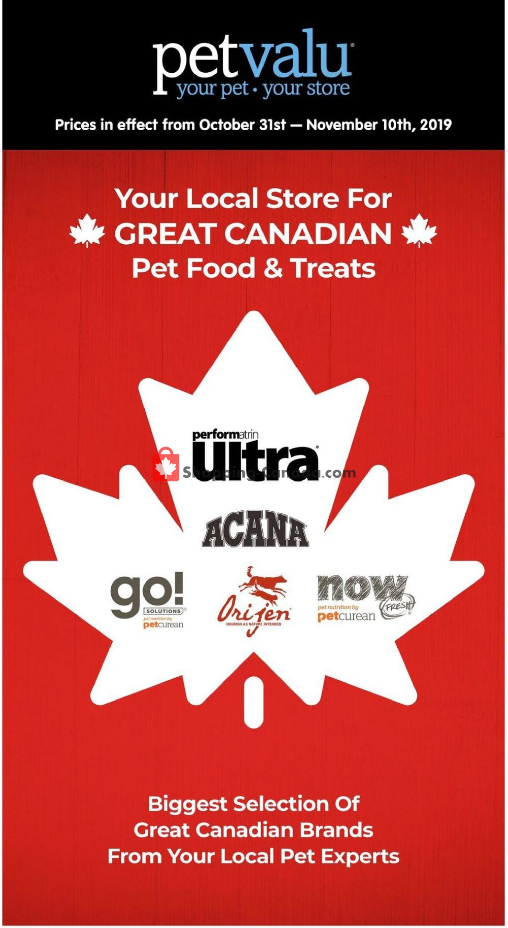 Flyer Pet Valu Canada - from Thursday October 31, 2019 to Sunday November 10, 2019
