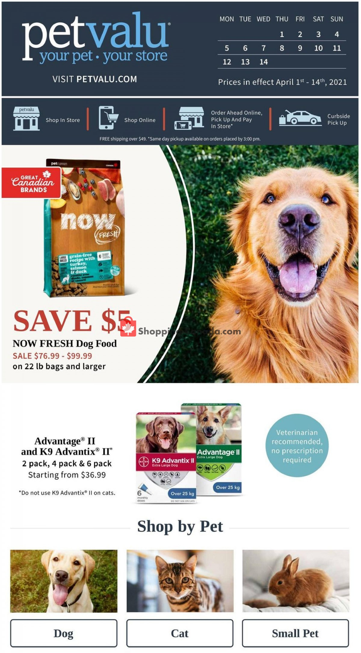 Flyer Pet Valu Canada - from Thursday April 1, 2021 to Wednesday April 14, 2021