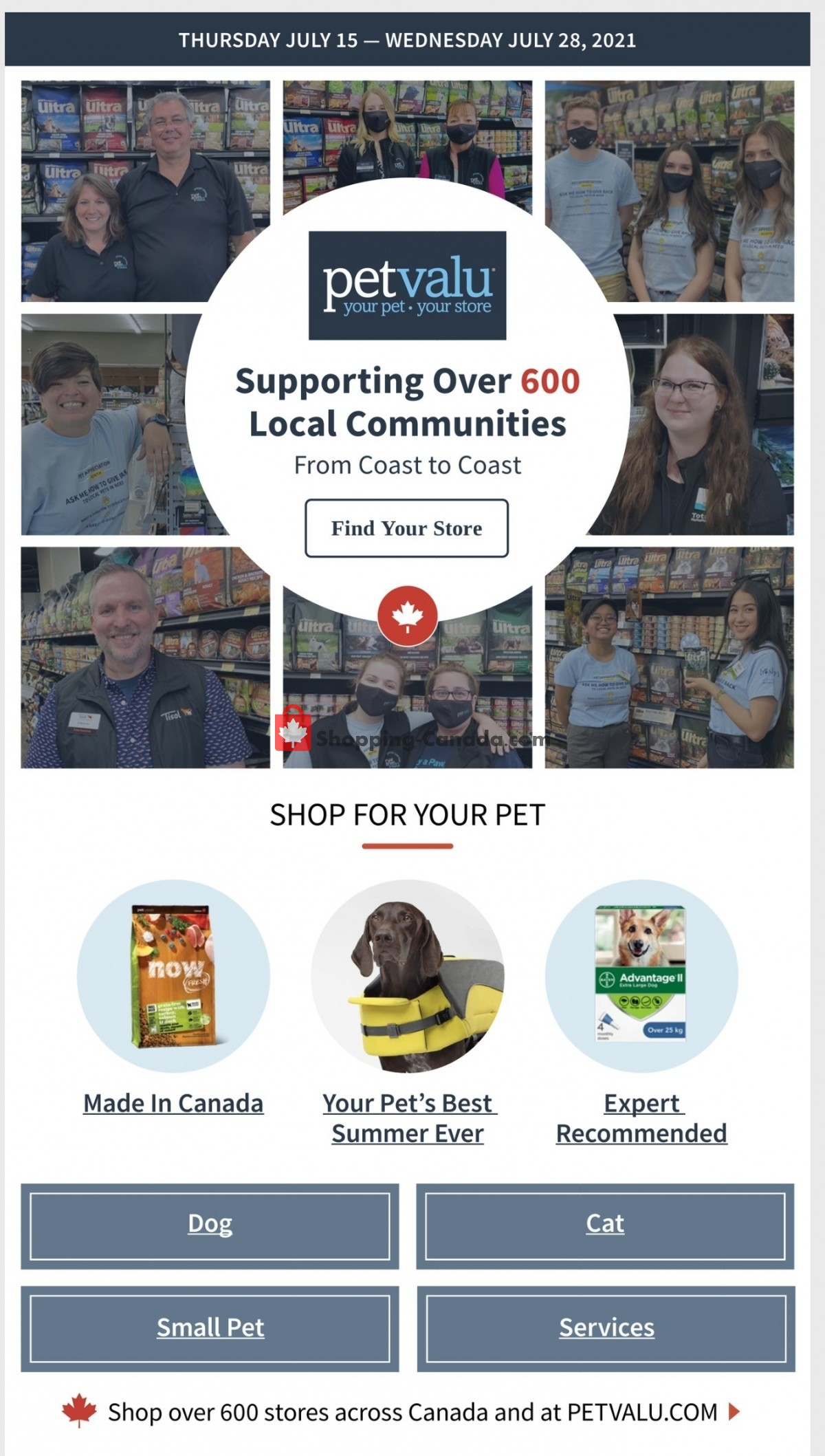 Flyer Pet Valu Canada - from Thursday July 15, 2021 to Wednesday July 28, 2021
