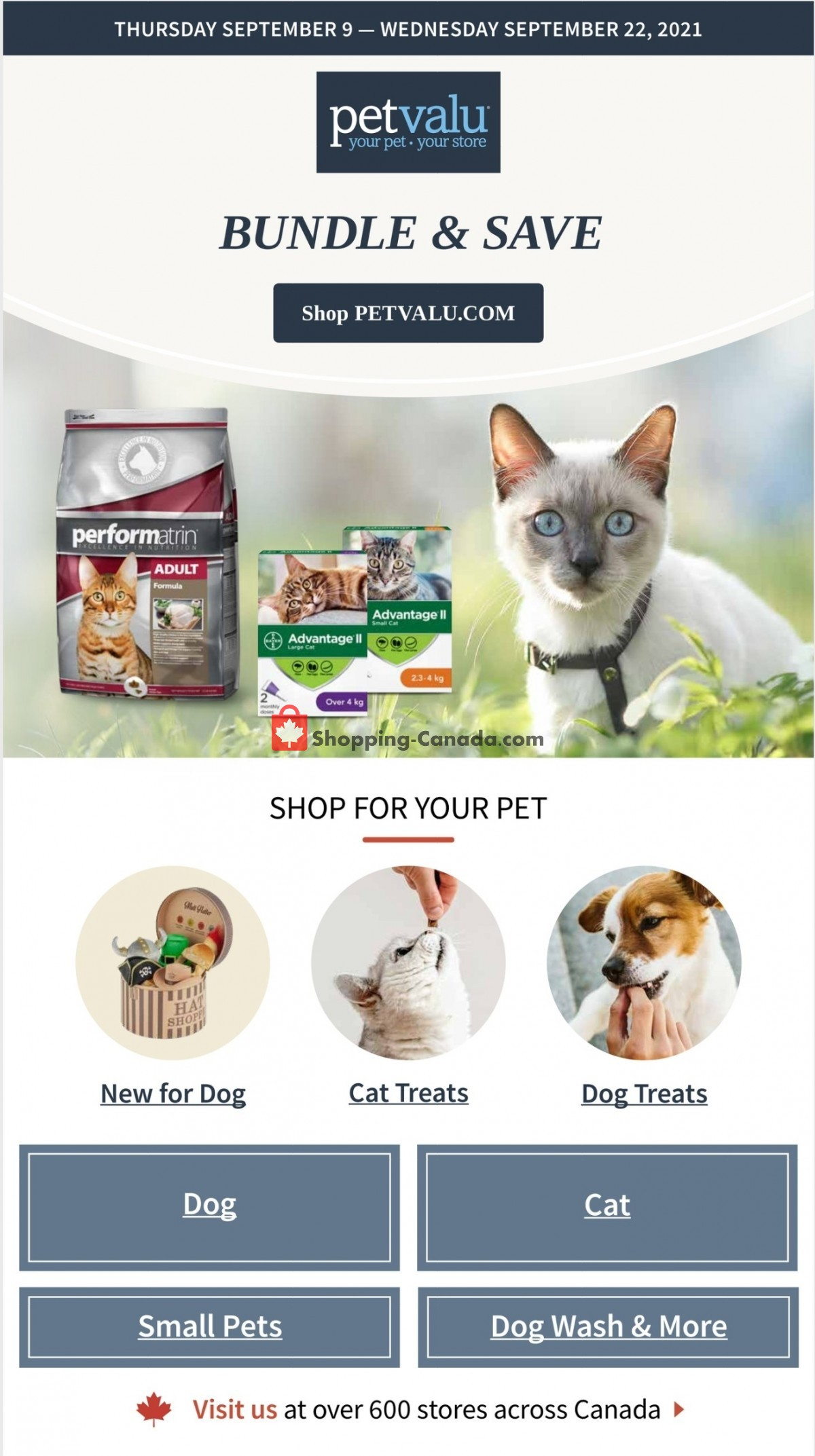 Flyer Pet Valu Canada - from Thursday September 9, 2021 to Wednesday September 22, 2021