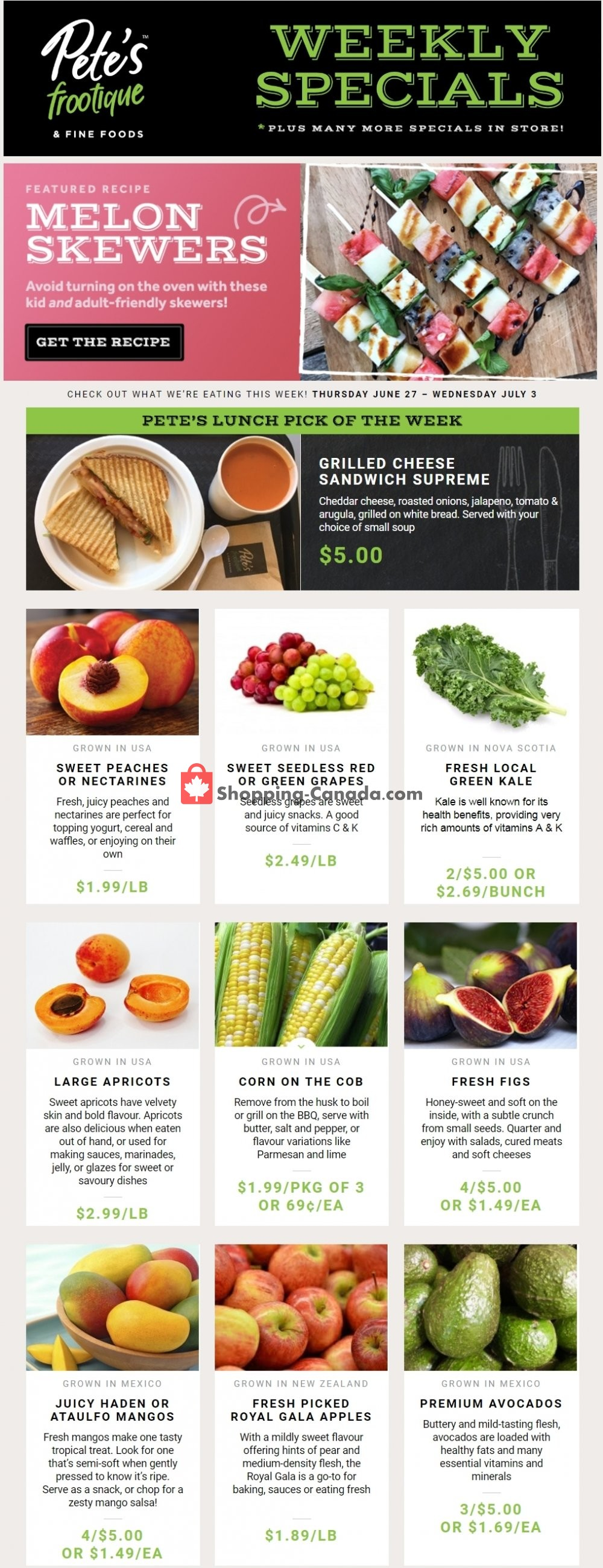 Flyer Pete's Fine Foods Canada - from Thursday June 27, 2019 to Wednesday July 3, 2019