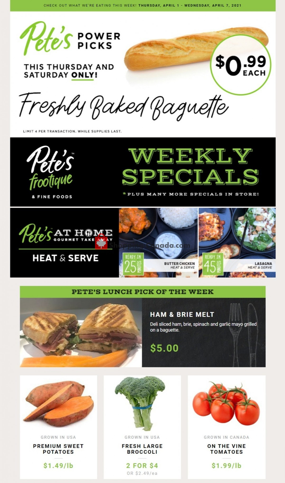 Flyer Pete's Fine Foods Canada - from Thursday April 1, 2021 to Wednesday April 7, 2021