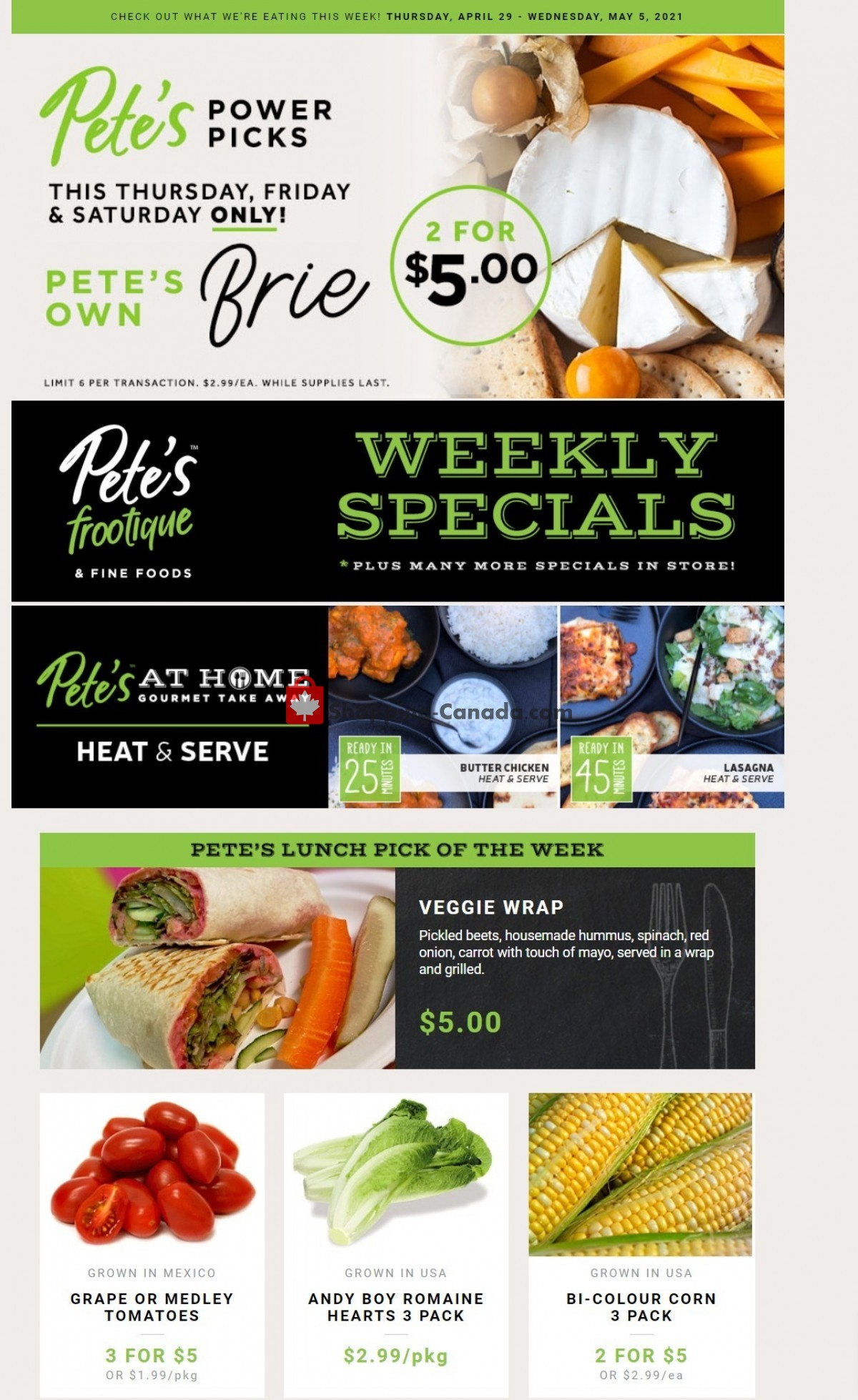 Flyer Pete's Fine Foods Canada - from Thursday April 29, 2021 to Wednesday May 5, 2021