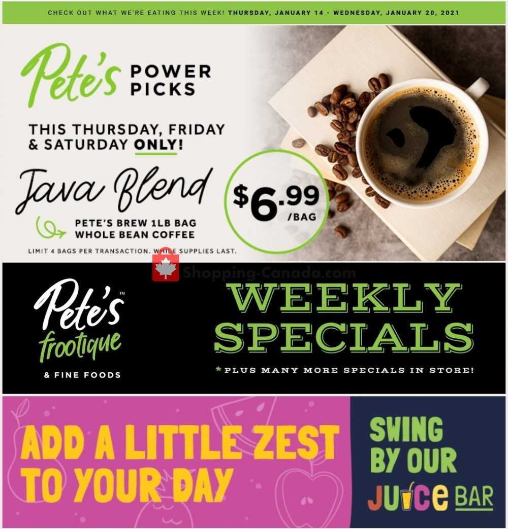 Flyer Pete's Fine Foods Canada - from Thursday January 14, 2021 to Wednesday January 20, 2021