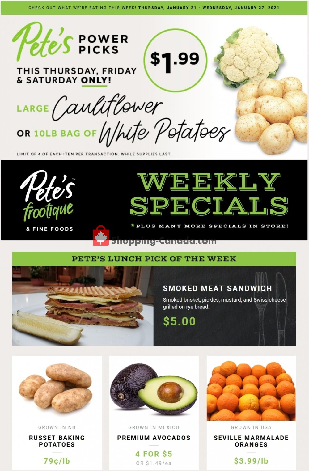 Flyer Pete's Fine Foods Canada - from Thursday January 21, 2021 to Wednesday January 27, 2021